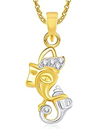 Ganpati God Pendant With Chain Lockets For Men And Women Gold Plated In American Diamond Cz GP318