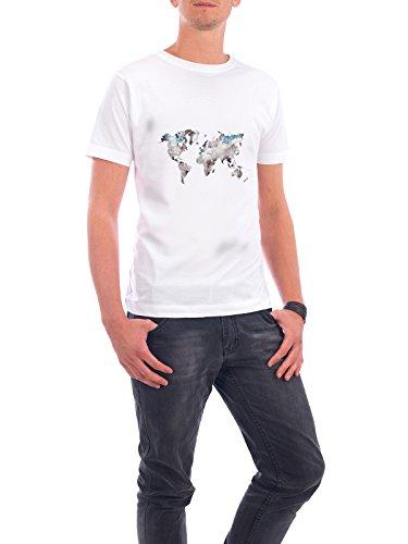 """Design T-Shirt Männer Continental Cotton """"world map 79 white blue"""" in Weiss Größe 5XL - stylisches Shirt Kartografie Reise Reise / Länder von Justyna Jaszke"""