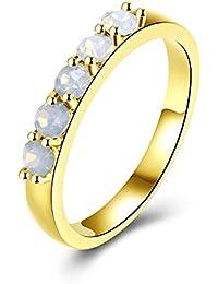 Blisfille Anillos Mujer 18 Años Anillo Mujer Oro Amarillo Anillos para Compromiso Anillo de Matrimonio K