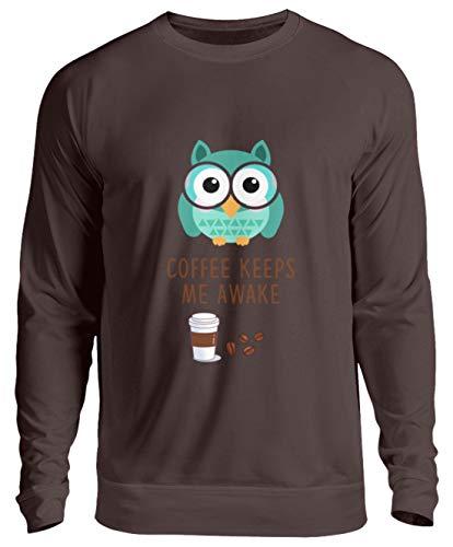 Schuhboutique Doris Finke UG (haftungsbeschränkt) Kaffee hält Mich wach Eule lustig Kaffee - Unisex Pullover -S-Schokolade (Wach Schokolade)
