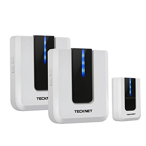 tecknet-twin-mains-plug-in-wireless-cordless-doorbell-door-chime-at-500-feet-range-with-led-indicato