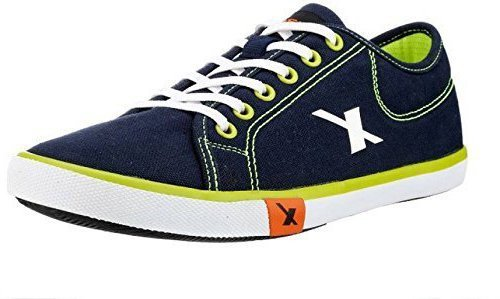 Sparx Men's Navy Blue and Green Canvas Sneakers (SM0283) (6 UK)