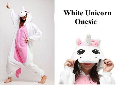 Kinder Jungen Mädchen Mens Womens Einhorn Rosa Weiß Blau Lila Regenbogen Sterne Fantasy Onesie Loungewear Kostüm Kostüm Outfit Cosplay Rolle Spielen Unisex Komfortabel (Weiß, Alter 12-14) (Kostüme Womens Fantasie)