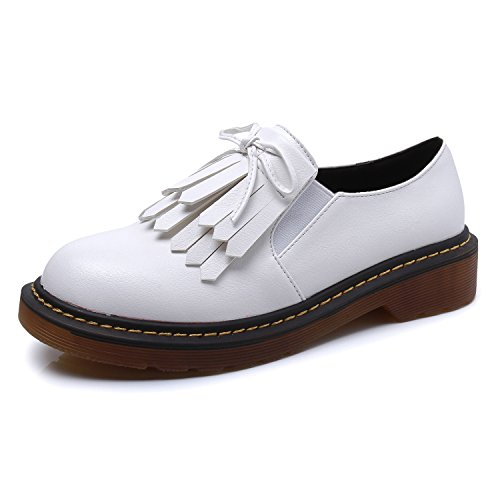 Smilun Chaussures Femme Plat Bout Rond Western Basse Frange Blanc