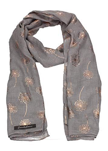 SWANKYSWANS Aubrey Soft Warm Dandelion Print Rose Gold Foil Scarf Shawl Wrap