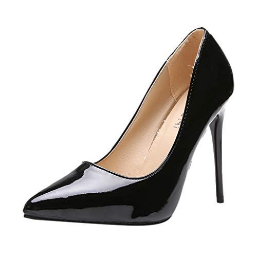 iLPM5 Damen Klassische Pumps Spitz Einfarbig High Heel Einzel Business Schuhe Abendkleider Schuhe Stöckelschuhe(Schwarz,41) Leopard High Heel Pumps Patent
