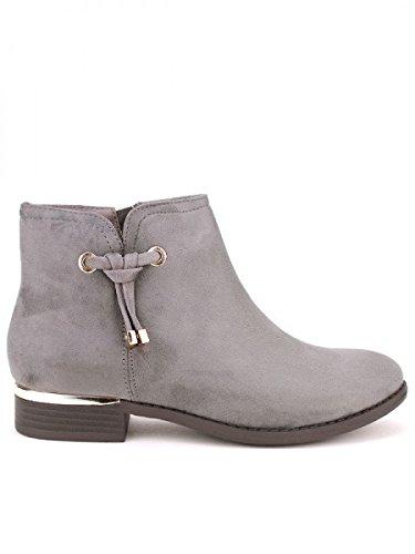 Cendriyon, Bottine grise ELKANA Mode Chaussures Femme Gris