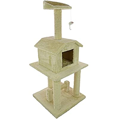 Mool Deluxe Cat Activity Centre and Scratching Tree/ Post with Hidey-Hole and Viewing Platform, 114 cm, Beige