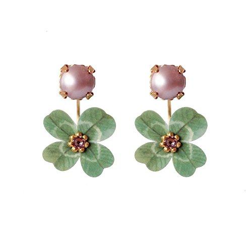 LULI Art Bijoux - orecchini swing con quadrifoglio e perla.