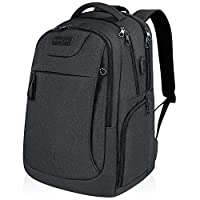 KROSER School Laptop Backpack for 17.3 Inch Laptop Anti-Theft Large Travel Computer Backpack with USB Charging Port Water-Repellent Casual Daypack for Business/College/Men/Women-Charcoal Black