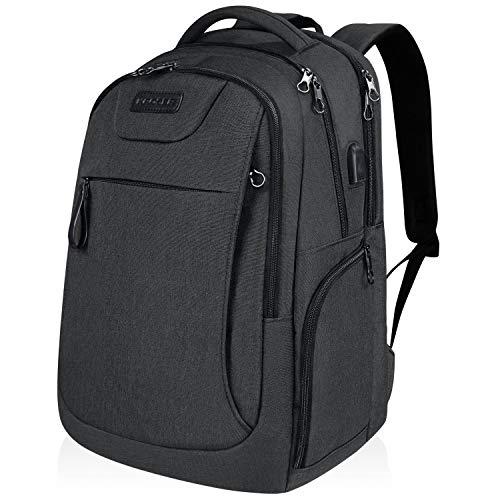 KROSER Laptop Rucksack 17,3 Zoll Schulrucksack Reise Daypack Wasserabweisende Laptoptasche mit USB-Ladeanschluss für Reisen/Business/College/Frauen/Männer Schwarz MEHRWEG