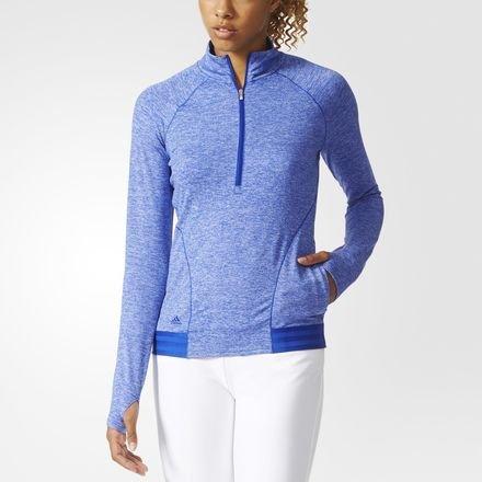 Adidas Ladies Advance Heathered Rangewear Half Zip Jacket Ladies Blue/White Small Ladies Blue/White Small Womens Half Jacket