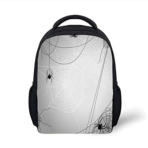 Spider Web,Spiders Hanging from Webs Halloween Inspired Design Dangerous Cartoon Icon Decorative,Grey Black White Plain Bookbag Travel Daypack ()