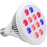 Lampe de Croissance Led Grow Light 12W E27 3 Bandes TaoTronics Ampoule de Culture Floraison Ampoules de Serre pour Plantes d'Intérieur/Jardin/Serre/Greenhouse/Glasshouse (Lumière Rouge et Bleue)