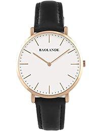 Alienwork Quarz Armbanduhr elegant Quarzuhr Uhr modisch Zeitloses Design klassisch Leder rose gold schwarz U04816M-03