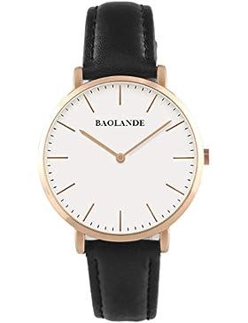 Alienwork Quarz Armbanduhr Ultra-flach Uhr Damen Uhren Herren Zeitloses Design Leder rose gold schwarz U04816M-03