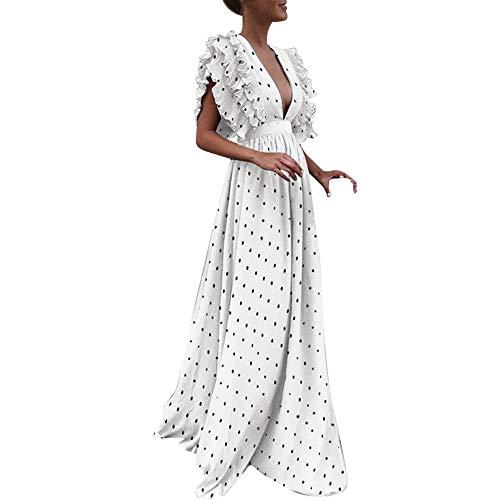 Sannysis Damen Maxikleid Langes Elegantes Kleid Plus Size Vintage Dot Fliegenhülle V-Ausschnitt Abendkleid Partykleid Retro Kleider