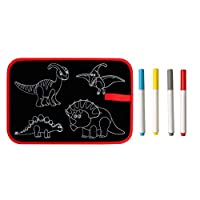 Caerling Educational Toys Carrying Reusable Small Blackboard Rewritable Drawing Animal Picture Book DIY Drawing Board Contains: 1x Reusable Small Blackboard, 4X Painting Pen