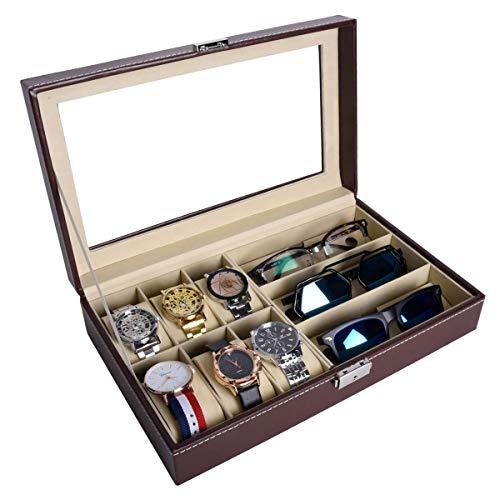 autoark 6Stück Uhr Fall und 3Stück Brillen Aufbewahrungsbox schwarz Kunstleder Combo Jewelry Box und Sonnenbrille Brille Display Fall Organizer braun