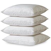 GOLD STERN 4 x Polyester Vlies Füllkissen 45x45 cm weiß | Inlett Kissen 30° waschbar | Für Dekokissen, Kopfkissen, Sofakissen