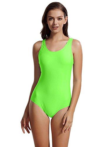 zeraca Damen Sport Racerback Einteiler Figurformend Badeanzug Bademode (L Euro 44, Grün)