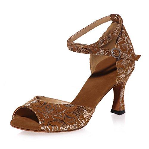 L @ yc Hot Latin / Professionnel Pétillante Chaussures De Danse Pour Femmes Maison Brune