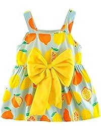 02237ffc9fa PAOLIAN Vestido para bebe niñas Verano 2018 princesa Vestido de la honda  Impresion Limón Bowknot Sin manga bautiz fiestas Ropa para bebe…