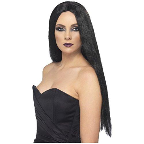 Lange schwarze Perücke glatte Haare für Kostüm Hexe o. Alltag