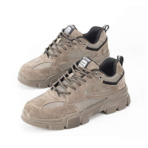 MINGDIAN Arbeitsversicherung Schuhe, Stahlkappe Anti-Piercing-Sicherheitsschuhe, Bergsteigen rutschfeste Tragbare Leichte Arbeitsschuhe for Männer Und Frauen (Color : Khaki, Size : 12 US)