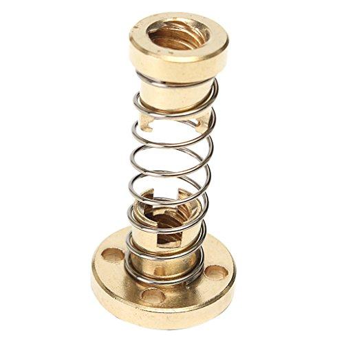 Gazechimp T8 Spielausgleich Feder Nuss-Set Gewinde Rod Führen Schraube Spindelmutter - Gold, 8mm