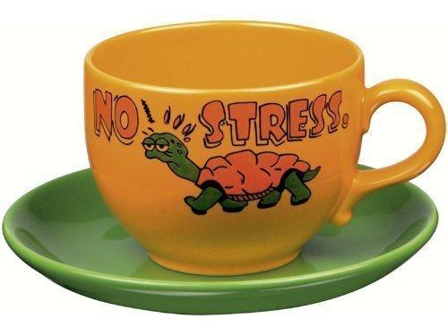 Kaffeebecher Stress (Jumbo Kaffee Tasse - Schildkröte - Keinen Stress)
