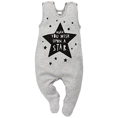 Happy Baby-strampelanzug (Pinokio - Happy Day - Baby Mädchen Strampler Baumwolle, Grau mit Stern oder Schwarz Weiß hi - Strampelanzug Schlafanzug, Mädchen Stars (74))