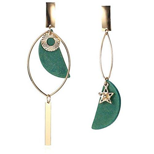 Bobury 1 Paar Frauen Übertrieben Asymmetrische Holzohrringe Elegante Mädchen Geometrische Ohrringe Schmuck Mode-Accessoires (Polish Vintage High)