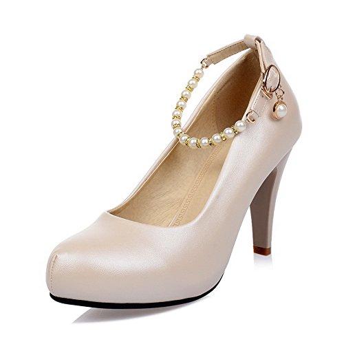 VogueZone009 Femme Microfibre à Talon Correct Rond Couleur Unie Tire Chaussures Légeres Abricot