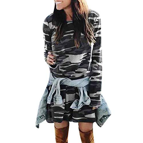 OIKAY Damen Langarm-Minikleid aus Strick Pullover Dress Kleid Damen Camo Party Minikleid Frauen Casual Oansatz Camouflage Printed Long Sleeve(Weiß,EU-40/XL)