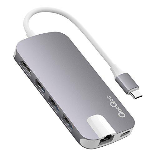 Hub USB C QacQoc GN30H, Hub Type C con 1 uscita HDMI @4K a 30Hz, 1 porta LAN, 3 porte USB 3.0, 1 porta usb tipo C per caricare( PD), 1 Slot SD/Micro SD, Per MacBook Pro/ Huawei Matebook 2016; Google Chromebook 2016; Microsoft Lumia 950/950 XL