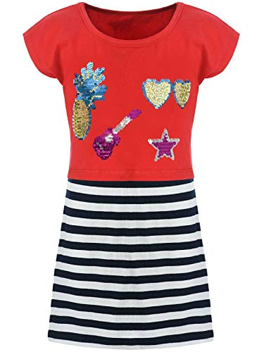 Kmisso Kinder Mädchen Kleider Spagetti Sommer-Kleid Top T-Shirt Rock (2 TLG. Set) 30025 Rot - Anna T Shirt Kostüm