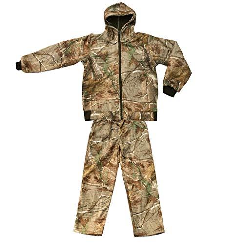 GRZP Mit Kapuze Camouflage Anzug männlich, Winter Plus samt kalt warm Jagdanzug Bionic Camouflage taktischer Anzug für Outdoor versteckt Angeln Camping Abenteuer Reiten (größe : XL)