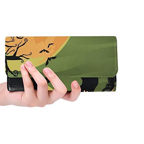 Einzigartige gruselige Halloween-Baum-Katze Jpg-Frauen-dreifachgefaltete Mappen-Lange Geldbeutel-Kreditkarte-Halter-Fall-Handtasche
