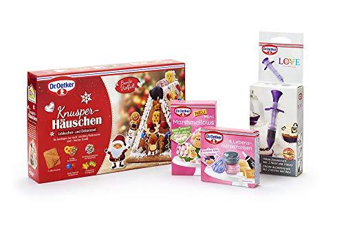 Dr. Oetker Knusperhäuschen-Set 1er Pack 403 g Lebkuchen und Dekorierset zum Basteln und Verzieren für die Weihnachtszeit