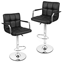 LANGRIA Stockholm Faux Leather Bar Stools