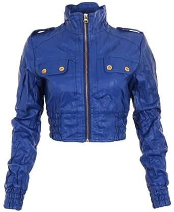 8907-Blue-Medium : Cropped PU Jacket