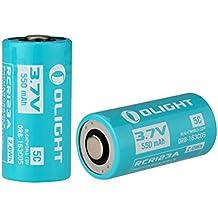 Olight® Batteria Ricaricabile Li-ion RCR123A 16340 550mAh, Batteria Personalizzato ORB-163C05 5C 3.7V, per Olight S1R Baton, Adatto per i Altri Prodotti si può Usare con Batterie RCR123A / CR123A (2 Pezzi)