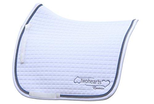 Twohearts Schabracke Weiss Model RUBINSTEIN by (Premium Qualität Ergonomisch und Atmungsaktiv) (XL Dressur (ca 3 cm mehr Rückenlänge))