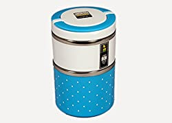 GiftsPlanet Homio Two Layer 900ML Stainless Steel Lunch Box- Blue