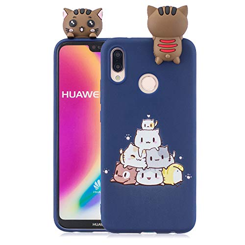 Yobby Hülle für Huawei P20 Lite,3D Cartoon Süß Tiere Slim Weich Silikon Gummi Gel Handyhülle,Kinder Mädchen Teen Jungs Cool Schön Kawaii Rückseite Schutzhülle-Dunkelblau Katzen
