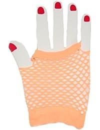 Short Fishnet Fingerless Gloves - Orange