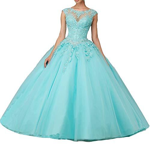 JJL M?dchen Sweet 16 Quinceanera Kleider Sheer Neck Ballkleid Prinzessin Prom Kleider