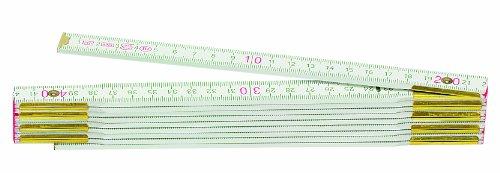 Metrica 23119 Holzgliedermassstab 2 m, rote Dezimalen, weiß