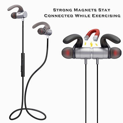 SGIN Auriculares Bluetooth 4.2  Auriculares Estéreo Inalámbricos con micrófono Deporte Resistente al Sudor para reproductor iPhone  Smartphone  Tablet etc(gris)   Fozento